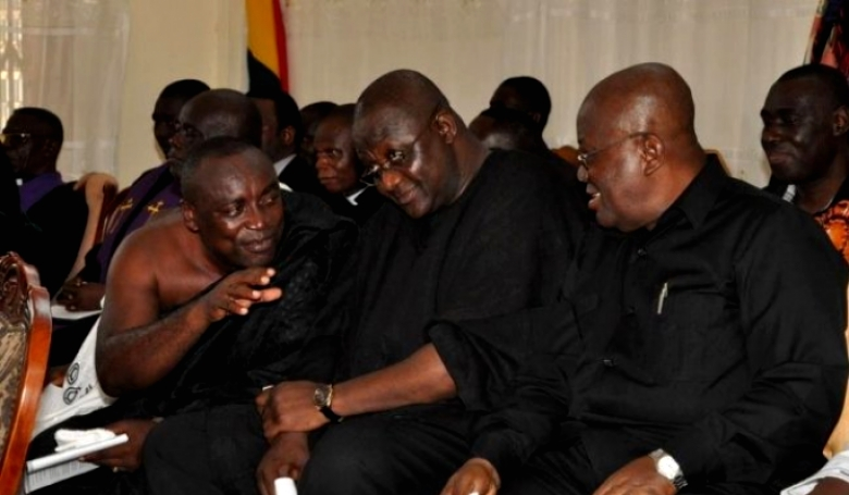 L-R: General Secretary, Kwabena Agyepong, Chairman Paul Afoko and the Presidential Candidate, Nana Akufo-Addo in happier times